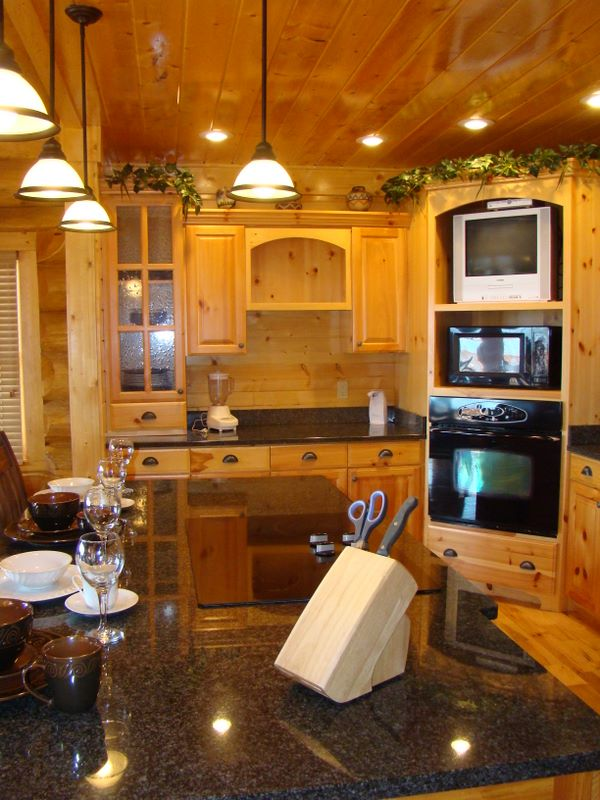 Custom kitchen of a log home in Pinnacle View development - Pittman Center, TN