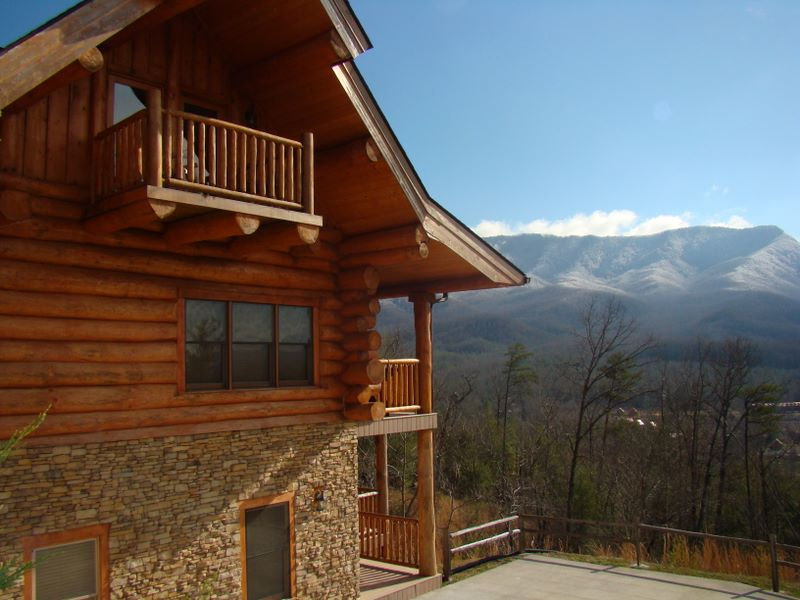 View of cabin and mountains at 229 Morning Breeze - Pinnacle View development - Pittman Center, TN