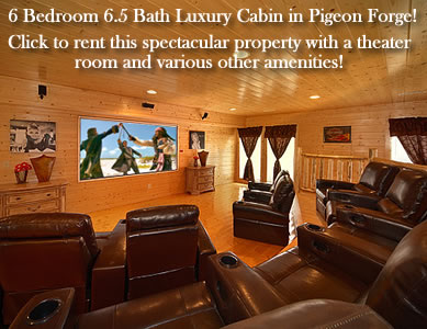 Pigeon Forge Cabin Rental in Black Bear Ridge Resort. 6 bedroom, 6.5 bath with theater room and all the amenities visitors desire. Close to Dollywood, Wears Valley, and Pigeon Forge!