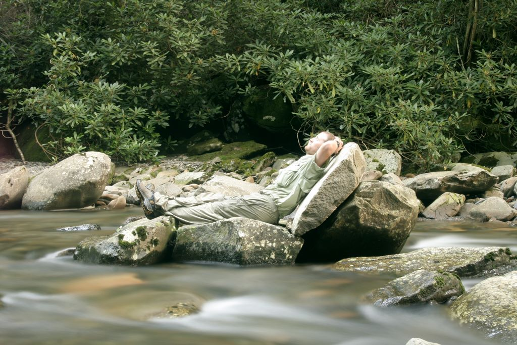 John Hudson Smith V - Relaxing on a boulder shaped like a chair on Walker Camp Prong - Smoky Mountains National Park