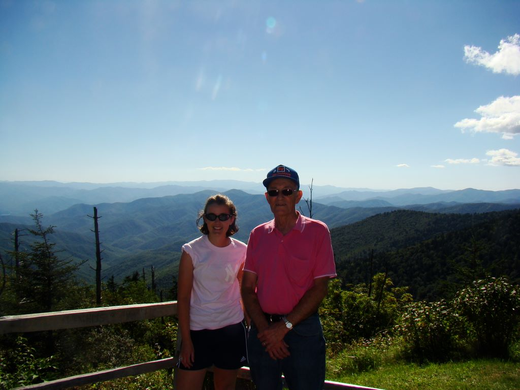 Brooke Fradd and her Papaw Worth near Clingman's Dome in the Great Smoky Mountains National Park