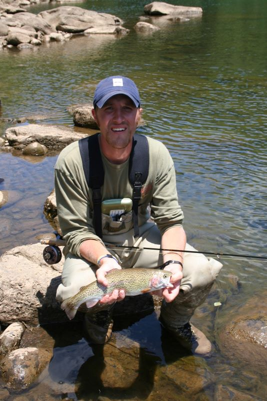 John Hudson Smith V after catching a large trout on his fly rod