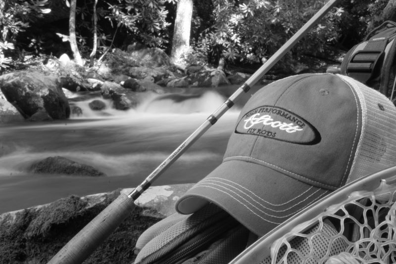 John Hudson Smith V custom handmade bamboo fly rod along with his Scott Fly Rods hat - fly fishing the Little River in the Smoky Mountains