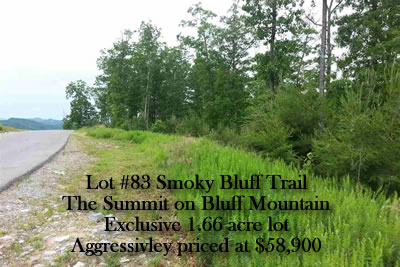Lot 83 Smoky Bluff Trail - The Summit on Bluff Mountain. Luxury estate land of 1.66 acres in the Smoky Mountains