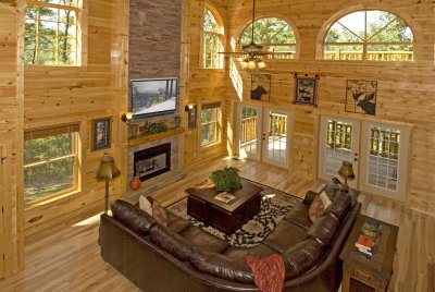 Luxury Gatlinburg Cabin Rental with theater room, granite counters, luxurious walk-in showers, mountain views, and much more! The ultimate Smoky Mountain retreat!