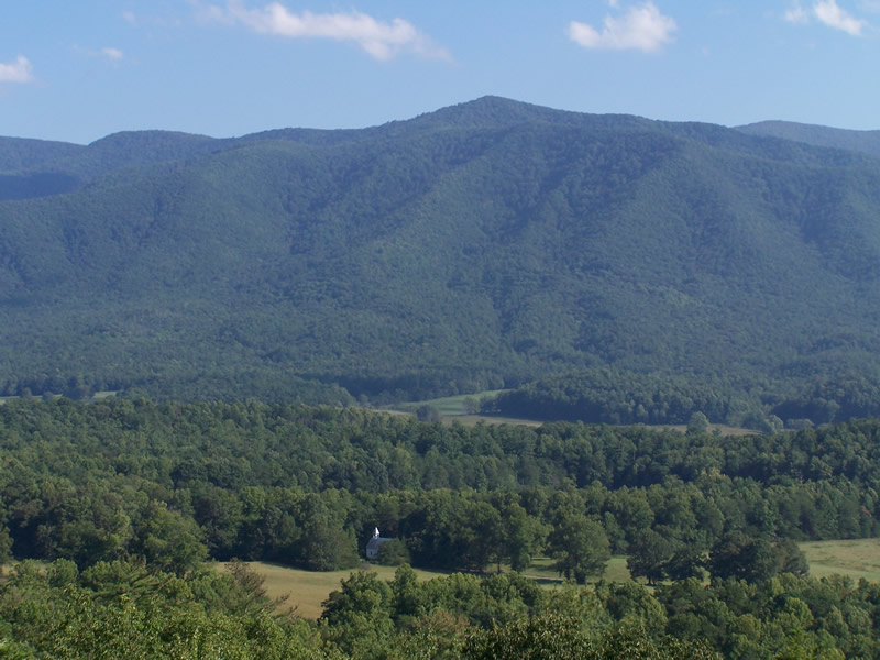 View From Rich Mountain Road of Church In Cades Cove