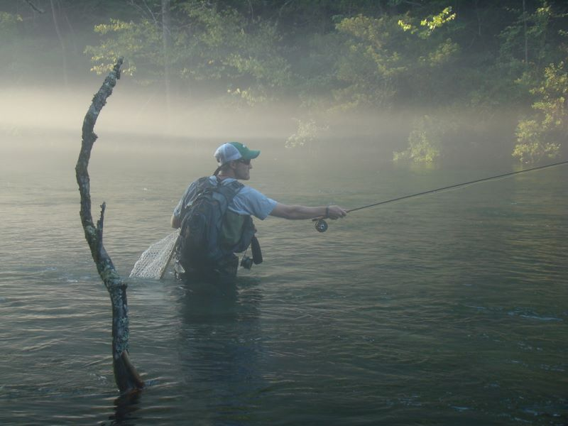 John Hudson Smith V - Fly fishing on the South Holston River - August 6, 2009