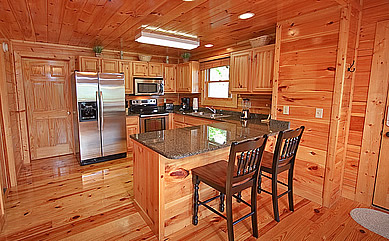 Three Bears Playhouse - Pigeon Forge cabin rental with mountain view in gated Sherwood Forest. Only 5 minutes from the Parkway. Features granite counters, flat screen TV's, stainless appliances, and much more!