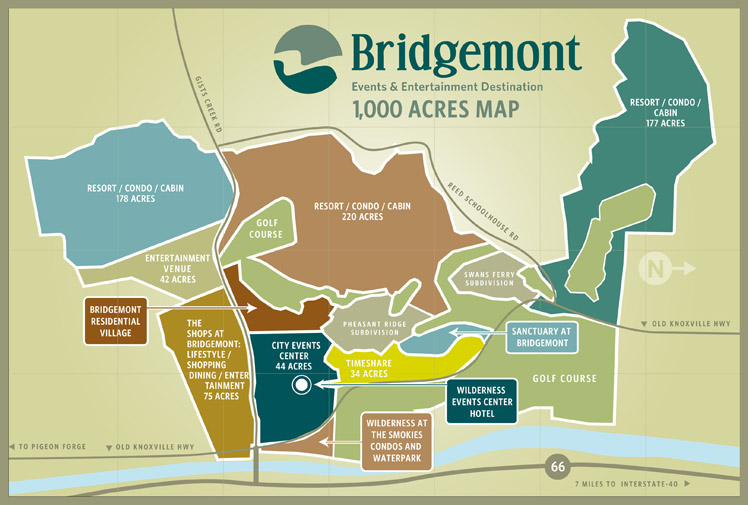 Bridgemont Events & Entertainment Destination Site Map - Sevierville TN Events Center & Wilderness at the Smokies Waterpark resort and condos for sale in the Smoky Mountains